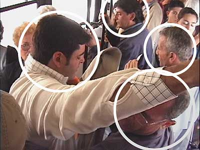 Theft-proof vacation. Four pickpockets at work on a crowded tram.