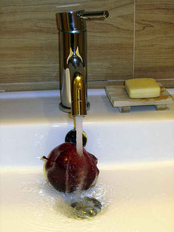 Hotel oddity: shallow sink
