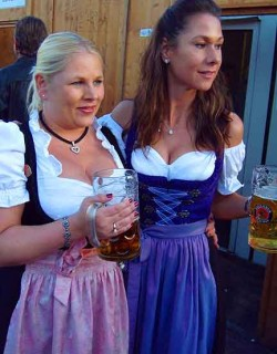 Women wear dirndls: long or mini; racy or demure; traditional, sequined, or alt.
