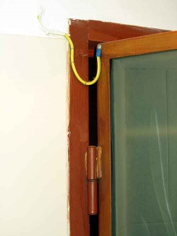 Bathroom door wire