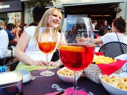 Campari aperitifs at Italian happy-hour.