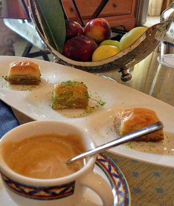 At the Four Seasons Sultanahmet, ave your coffee with luscious baklava, delivered in the afternoon. We also got a bowl of exquisite fresh figs.