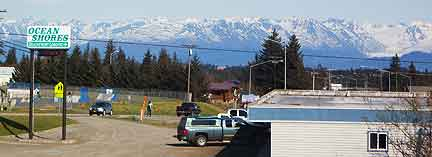 From town, several glaciers are visible in the Kenai Mountains.