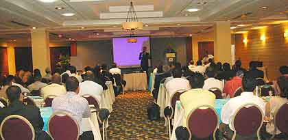 One of Bob Arno's lectures in Panama: 100 of Panama's top security and tourism professionals attended, including majors and chiefs of the national police and the