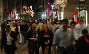 "The main drag in the ""modern"" part of Istanbul. Crowded day and night... but especially at night."