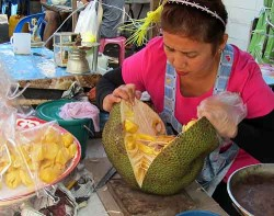 A jackfruit seller in Bangkok