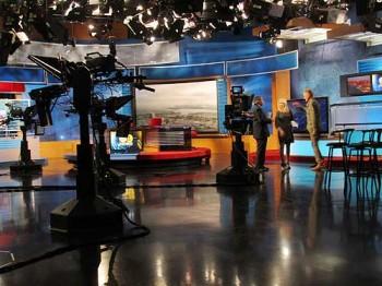 KCAL's human-free newscast studio.