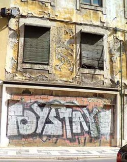 Not all graffiti is this colorful. Many buildings are this dilapidated.