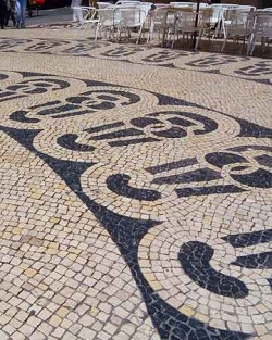 Lisbon's lovely marble mosaic pavements.