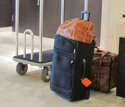 Luggage left unattended in a lobby