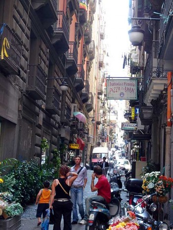 A small street in Naples' Quartieri Spagnoli