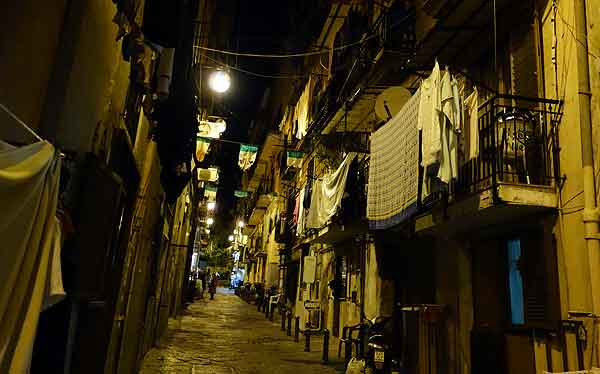 Naples lane at night