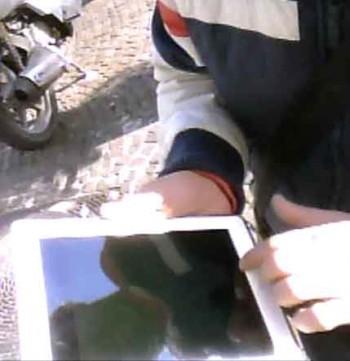A pacco man's self-portrait in an iPad