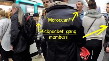 Paris pickpockets: When a train pulled in the gang dispersed, each to his own mark. Meanwhile, another pickpocket, not part of this gang, arrived and got on the train beside us.