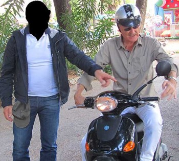 The pickpocket must remain unidentified for now. Last year, he let Bob go for a spin on his bike.