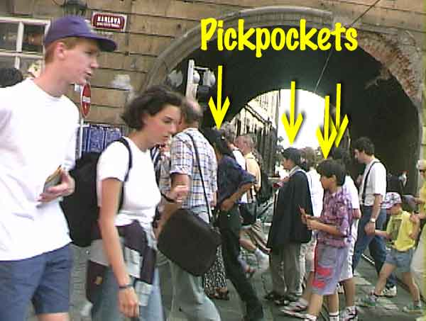 Pickpockets in Prague; theft by blocking