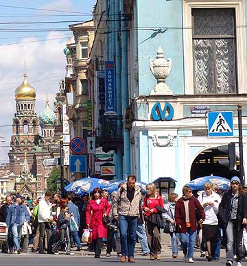 The Metro station in St. Petersburg, Russia, with the Church on the Spilled Blood in the background. Probably a few pickpockets in the crowd, but who?