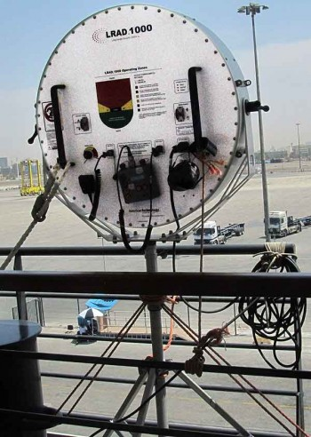 The ship's focused sound blaster, safely in the port of Dubai