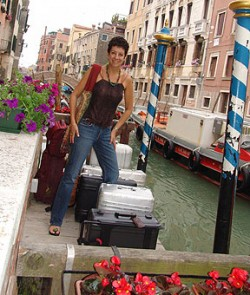 Pickpockets in Venice are few and far between. Bambi waits for a water taxi in Venice.